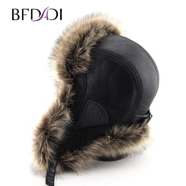 BFDADI Hot Sale faux fur Ear Flaps Cap trapper snow ski snowboard warm winter aviator bomber hats caps women men Free Shipping