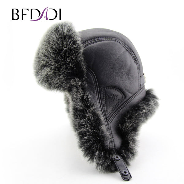 a0afac1c837 BFDADI 2017 New Men Winter Warm Bomber Hats Russian Cap Trapper Caps A