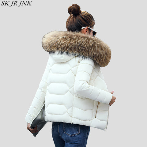 7a302a93bf7 Warm Fur Collar Hooded Thicken Short Parkas 2017 Slim Fit Fashion Women  Padded Jacket Winter Casual