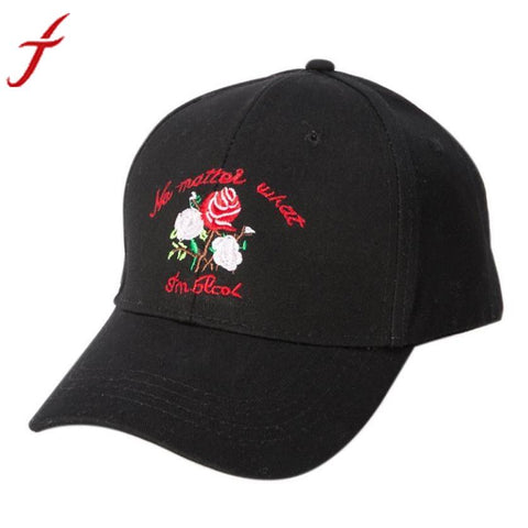 9ee236e2376 2017 Hot Rose Embroidery Baseball Cap Men Women Peaked Hat Hip Hop Curved 3  Colors Unisex