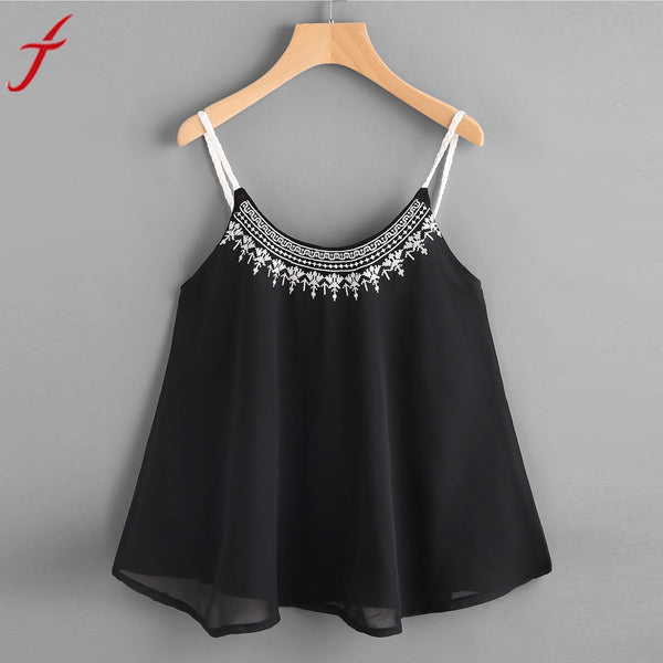 Women Chiffon Camis Fashion Embroidery Sleeveless Vest Crop Top Sexy Black Strappy Suede Cami Camisole Casual Women Tops