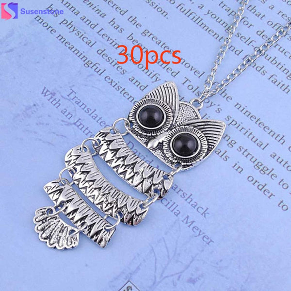 SUSENSTONE owl necklace Lady Women Vintage Silver Owl Pendant Necklace Best Gift sterling silver #GH25C