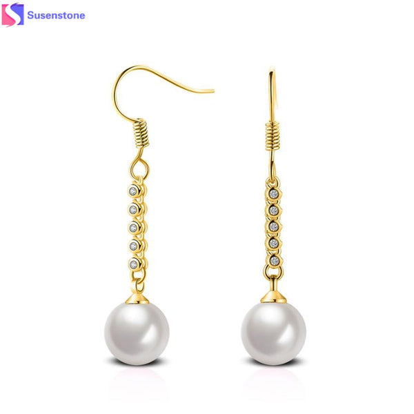 SUSENSTONE Women Pearl dangler Earring 1 pair of long earrings women pearl beads earrings ear hook ear silver jewelry