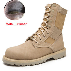 Merkmak Lovers Autumn Winter Leather Ankle Boots Cow Suede Men Desert Military Tactical Outdoor Combat Army Boots Big Size 35-47