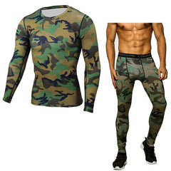 Men Top Shirts + Tights Pants Long Johns Fitness Winter Quick Dry Gymming Spring Sporting Runs Workout Thermal Underwear Sets