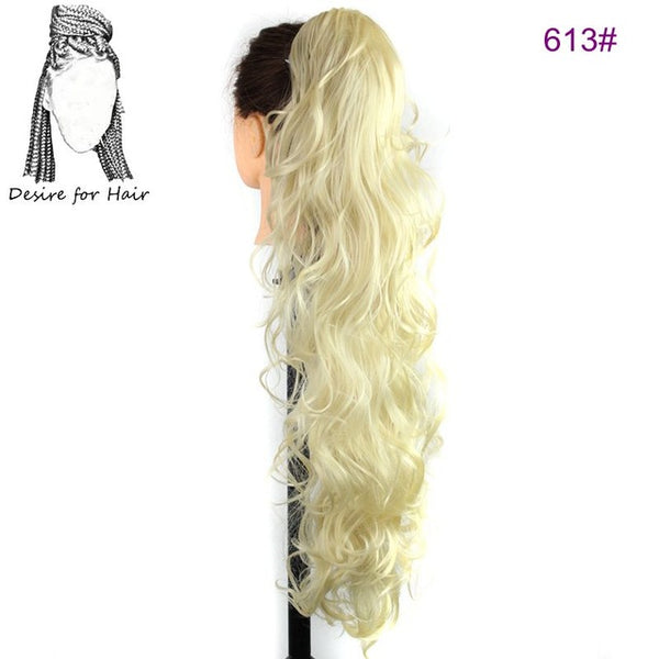30inch 220g Wavy Heat Resistant Synthetic Ponytail Hair Extensions Wit