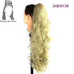 30inch 220g wavy heat resistant synthetic ponytail hair extensions with claw clip and elastic drawstring in black blonde color