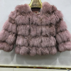 2017 new style winter women jacket thick short coat natural fox fur parka