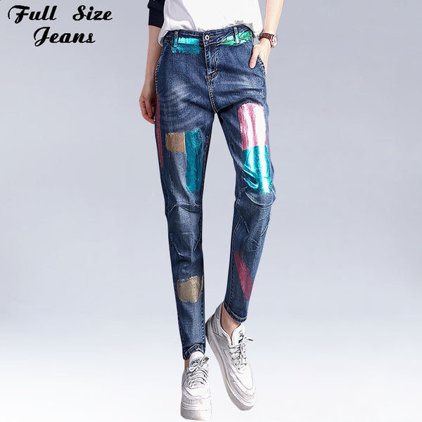 Fall Spring Korean High Waist Loose Harem Pants Vintage Denim Jeans Floral Print Large Size Painted Pattern Jean XS XXXL 6XL 7XL