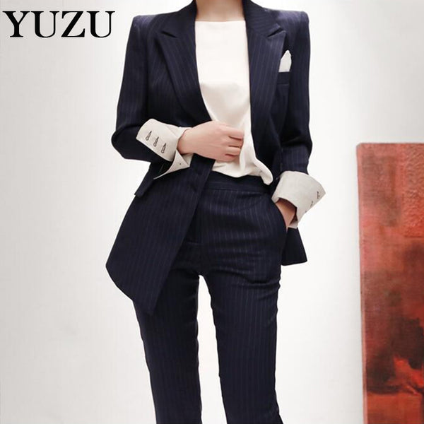 Two Piece Set Office Suit Women Striped Autumn Double Breasted Dark Bl