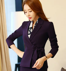 2017 women autumn spring blazer formal jacket long sleeve no button waist belt women suit office blazer fashion plus size 4XL