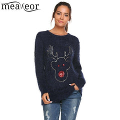 Meaneor Women Warm Sweater Sequins Autumn Winter Pullover O-Neck Long Sleeve Chrismas Reindeer Print Shiny jumper Slim Sweaters