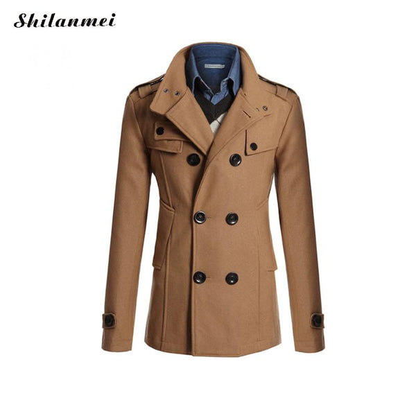 best sell modern techniques great discount for Trench Coat Men British Slim Double Breasted Acrylic Mens Long Trench Coat  Turn-down Collar Trenchcoat Long Sleeve Jacket Male