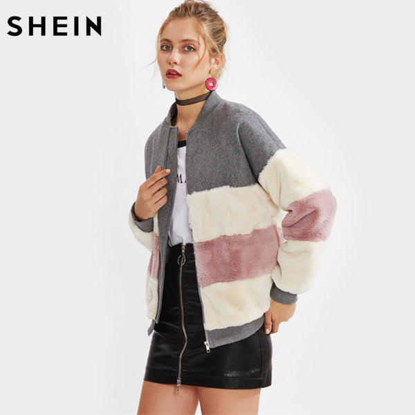 SHEIN Color Block Faux Fur Panel Jacket Fall Winter Coat Women Stand Collar Zipper Woman Winter Coats and Jackets