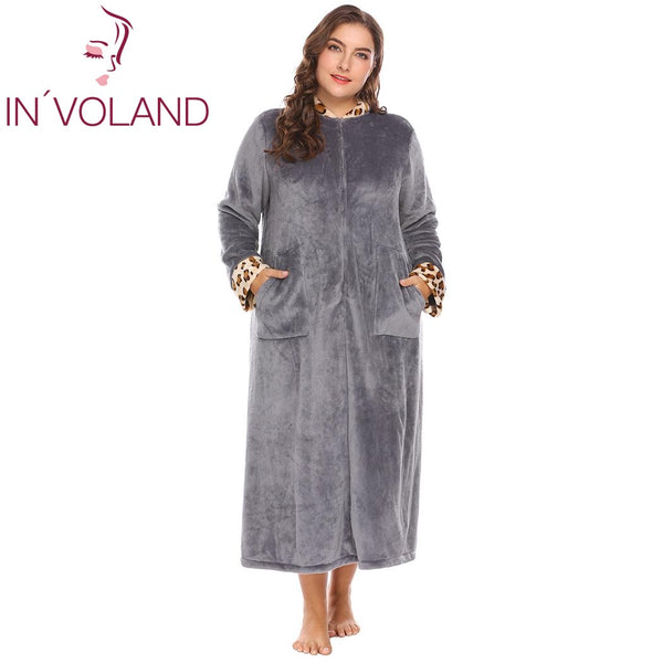 e6cf0cd5d9 IN VOLAND Plus Size XL-5XL Women Sleepwear Robes Soft Warm Lounge Plus