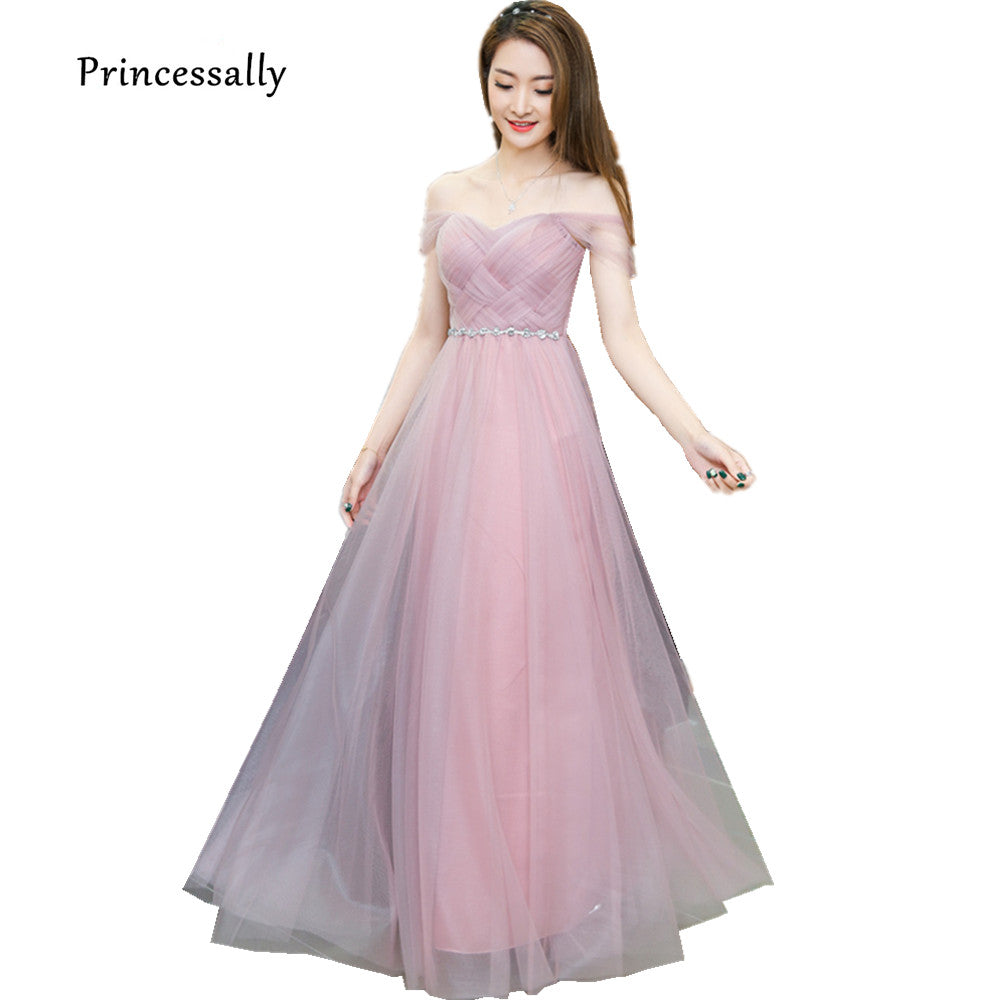 Dusty Pink Long Bridesmaid Dress Sweetheart Tulle Cheap Pleated Prom D