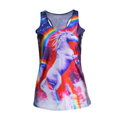 1pc New 2017 women summer 3d vests,Multi-Color Gothic Punk Clubwear T-Shirt Print Tank Top Vest Blouse,Sexy fashion summer tops
