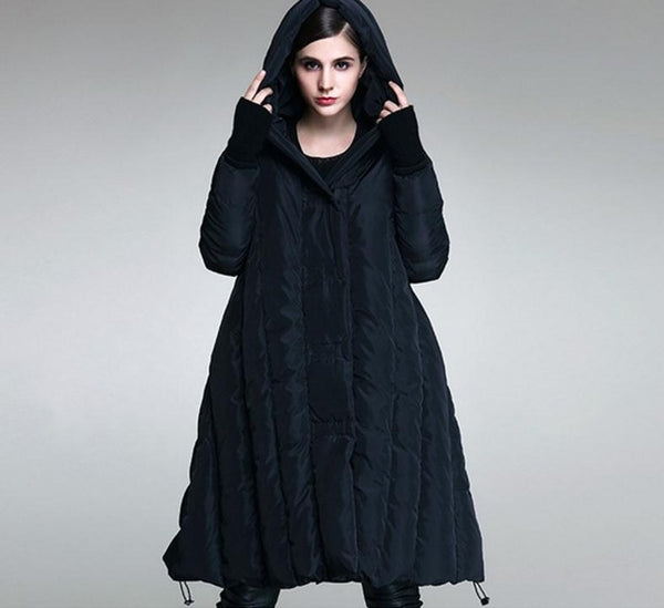 1cdd7fa710cb5 ... Winter Plus size 90% duck down coat fashion brand hooded cloak style  long down jacket