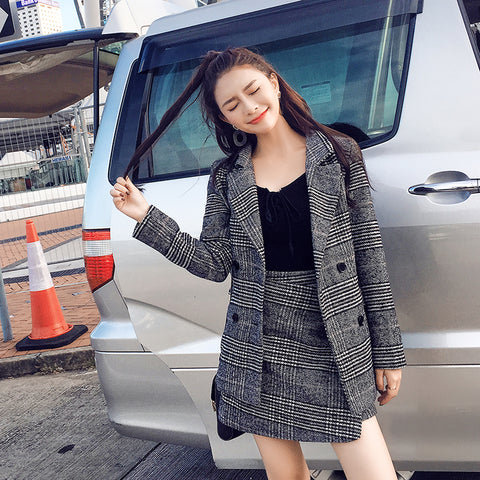 Two Piece Set 2017 Autumn And Winter New Houndstooth Jacket Croptop And  Skirt Set Woman Suits d2df7c24f919