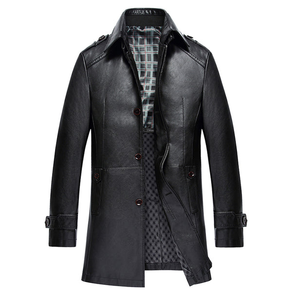 product image 2017 christmas men genuine leather jackets stand collar slim real sheepskin leather coat men winter jacket - Christmas Jackets