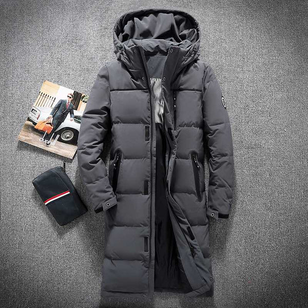 df5338f8a Mens Hooded Extra Long Duck Down Padded Jackets Man Thick Winter Down Coats  Male Fashion Long Overcoat Keep Warm Outerwear 8005