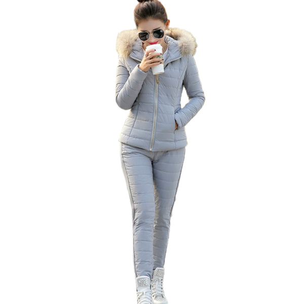 Women New 2017 Hooded Fur collar Coat Warm Casual Pants Two piece Set Female Outerwear Winter Down Cotton Jacket Thin Suit XC65