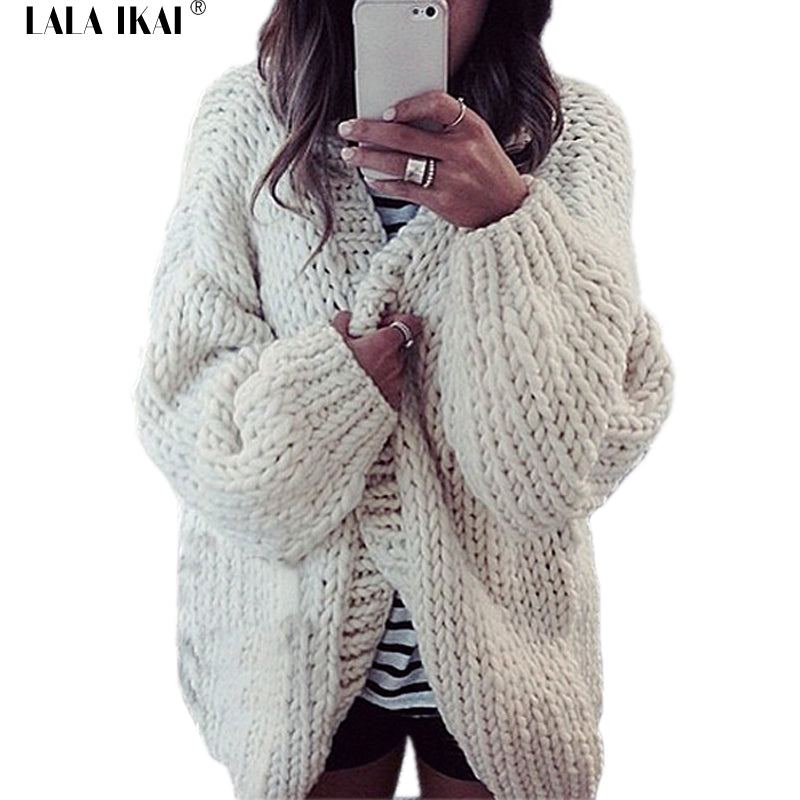 Winter Newest Women Thick Wool Long Outerwear Open Stitch Batwing Sleeve Hoody Female Hand Knitted korean Hoodies SWD0300 45