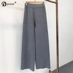 JOYDU Brand Pants 2017 New Winter Warm Jersey Knit Wide Leg Pants Women High Waist Trousers pantalon femme harajuku Casual Pants