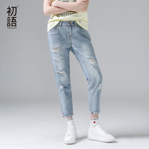0a50060b072 Toyouth Jeans Woman Casual Trousers For Ladie Ankle-Length Straight Mid  Waist Jeans Lady Ripped