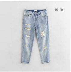 Toyouth Jeans Woman Casual Trousers For Ladie Ankle-Length Straight Mid Waist Jeans Lady Ripped Loose Fashion Trousers