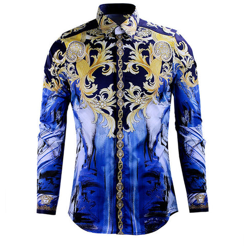 97704c6d2e4 Luxury Brand Men s Dress Shirt 2018 Fashion Design Printed Slim Fit Shirt  Long Sleeve Chemise Homme