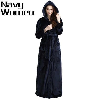 Men Hooded Extra Long Thermal Bathrobe Plus Size Winter Flannel Thicke