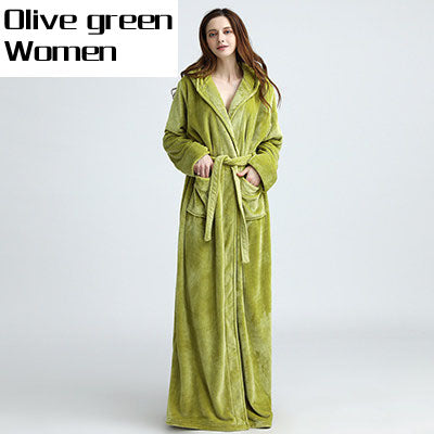 Lovers Thermal Hooded Extra Long Flannel Bathrobe Women Men Thick Warm