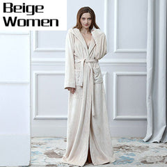 Lovers Thermal Hooded extra Long Flannel Bathrobe Women Men Thick Warm Winter Kimono Bath Robe Bridesmaid Robes Dressing Gown