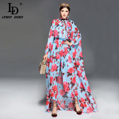 LD LINDA DELLA Fashion Runway Designer Jumpsuit Women's Long Sleeve Casual Rose Floral Print Loose Elegant Jumpsuit +Cloak