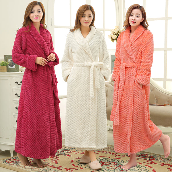 Women Winter Thermal Long Bathrobe Lovers Thick Warm Coral Fleece Kimo