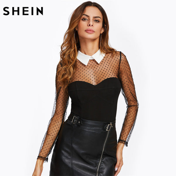SHEIN Polka Dot Mesh Yoke and Sleeve Contrast Collar Bodysuit Black Mid Waist Long Sleeve Party Wear Skinny Bodysuit