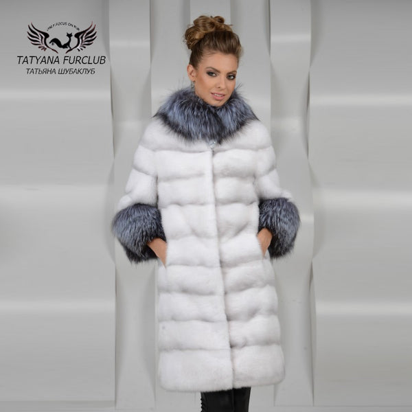 d422ed6cd Tatyana Furclub Luxury Women Mink Fur Coat Silver Fox Fur Collar,100%