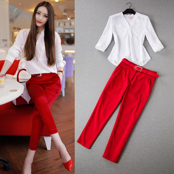 2017 Summer Women Sets Two Piece OL Fresh Office Wear White Three Quarter Sweet V-neck Shirt + Ankle-length Pants Women Sets