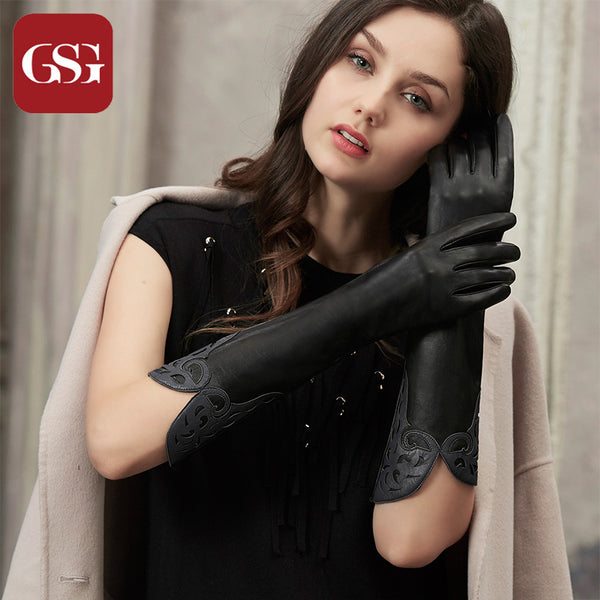9af4cdec4e379 GSG Long Leather Gloves Womens Fashion Patched Ladies Driving Gloves W