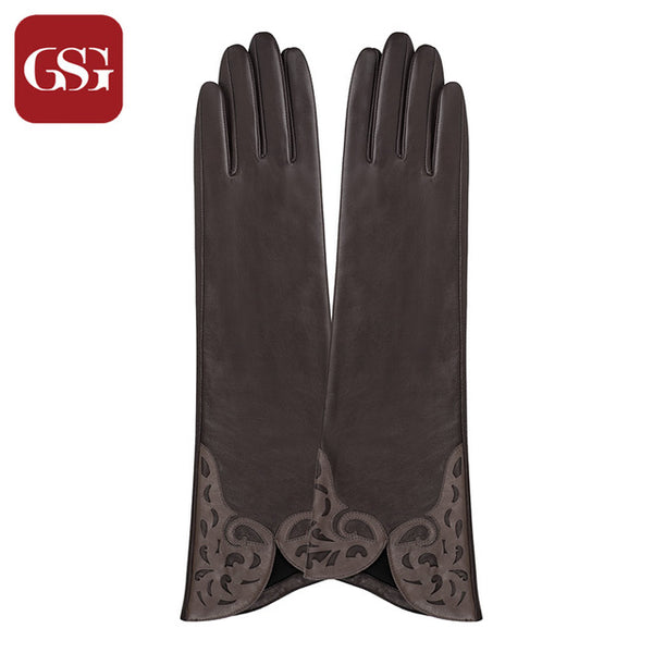 9d59522997333 ... GSG Long Leather Gloves Womens Fashion Patched Ladies Driving Gloves  Winter Thermal Fleece Lined Warm Gloves ...