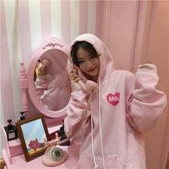 2017 Korean winter women's new girl cute cartoon behind loose cashmere hoodie coat with thickened