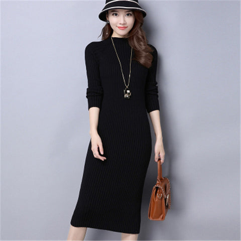 975ee548bb0 2017 New Women Autumn Winter Sweater Knitted Dresses Slim Elastic  Turtleneck Long Sleeve Sexy Lady Bodycon