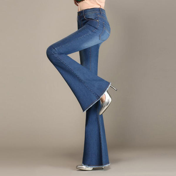 76af5656145 Autumn High Waist Flare Jeans Pants Plus Size Stretch Skinny Jeans Wom