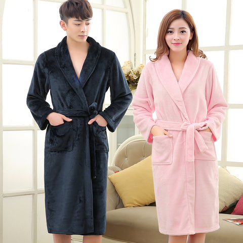75edb809f6 New Lovers Winter Coral Fleece Warm Bathrobe Men Long Flannel Soft Kimono  Bath Robe Mens Dressing