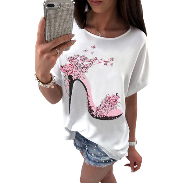 Summer New Top 2017 Batwing Sleeve Loose Butterfly High-heeled Shoes Print Shirt Casual Street Fashion Women's T Shirts