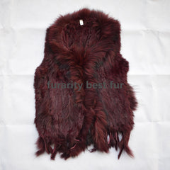 SF0047 27 colors winter new Knitted hand made Rabbit fur vests gilet sleeveless Knit Fur Waistcoat Women