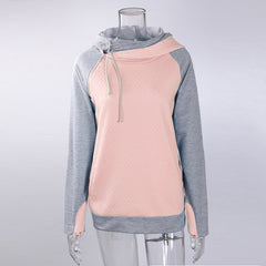 Autumn Winter Patchwork Women Sweatshirt Harajuku Hooded Hoodies Long Sleeve Zipper Tracksuit Pullover Tops WS3249M