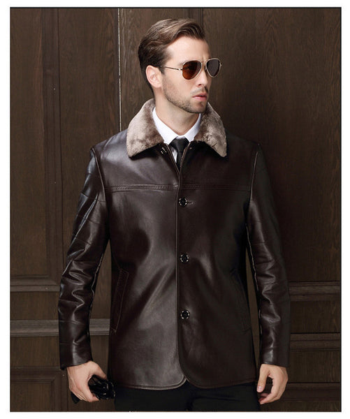 c4045996102 Genuine Jacket For Men Faux Fur Coat Men's Brand Wool Jacket Male Natural  Leather Jacket Men Top Quality Casual Overcoat XXXL
