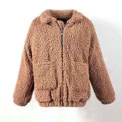teddy  coat fake fur top jackets warm and thick